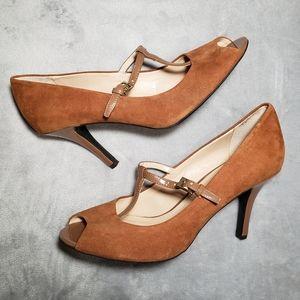 Franco Sarto T-strap Peep Toe Heels